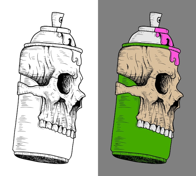 Spray can with skull mask