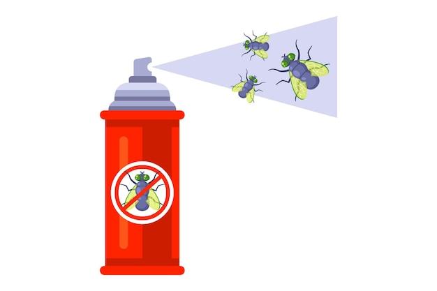 Распылите спрей от насекомых. избавиться от домашних мух. плоская иллюстрация.