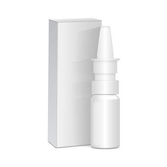 Spray nasal or eye antiseptic drugs. white plastic bottle with box. common cold, allergies. realistic