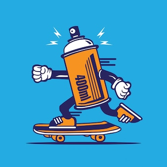 Spray paint can skateboarding character design