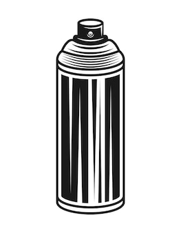 Spray paint can vector illustration in monochrome vintage style isolated on white background