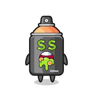お金に夢中な表情のスプレーペイントキャラクター、tシャツのキュートなスタイルデザイン、ステッカー、ロゴ要素
