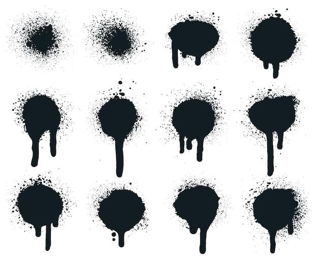 Распылите краски на точки. брызги нарисованные капли, текстура круга искусства гранж, грязные распыленные краски граффити.