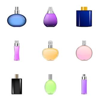 Spray perfume icons set, cartoon style