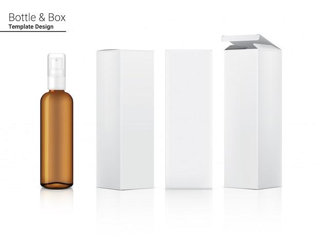 투명한 살포 펌프 호박색 병은 현실적 화장품 및 상자를 모의합니다