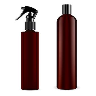 Spray and shampoo bottle vector mockup
