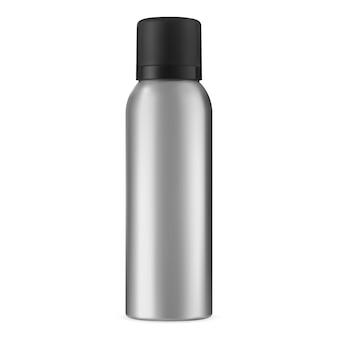 Баня-спрей. лак для волос аэрозольный алюминиевый баллончик. изолированная бутылка цилиндра дезодоранта. алюминиевый металлический освежитель воздуха или макет упаковки антиперспиранта. реалистичный контейнер для косметических товаров