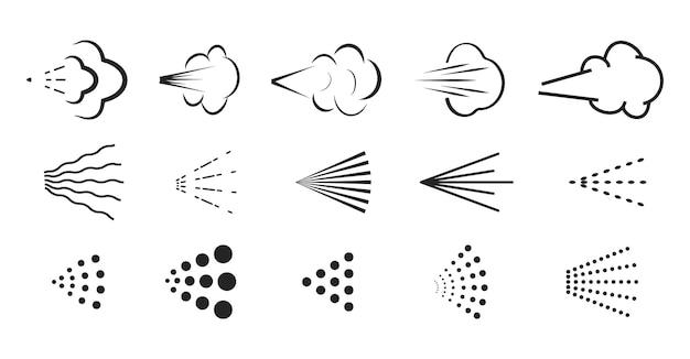 스프레이 벡터 아이콘입니다. 페인트 에어로졸 또는 데오도란트 스프레이를 위한 물 또는 공기 분무기 노즐의 스프레이 아이콘 세트