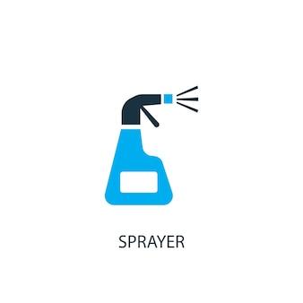 분무기 아이콘입니다. 로고 요소 그림입니다. 2가지 색상 컬렉션의 분무기 기호 디자인입니다. 간단한 분무기 개념입니다. 웹 및 모바일에서 사용할 수 있습니다.