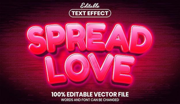 사랑 텍스트 확산, 글꼴 스타일 편집 가능한 텍스트 효과