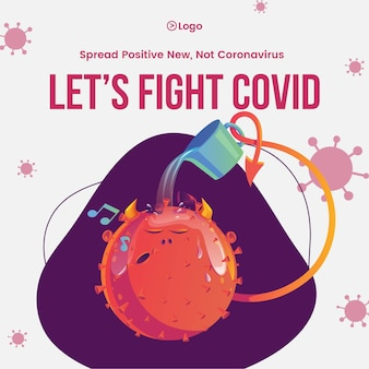Spreading awareness of self protection by lets fight covid banner design template of covid 19