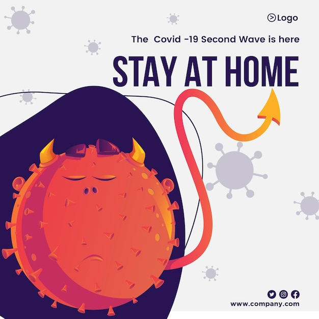 Spreading awareness of self protection by stay at home banner design template of covid 19