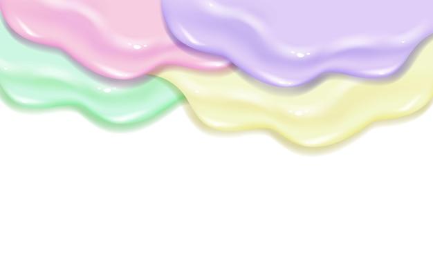 페인트 바니시 캐러멜 또는 잼 슬라임 텍스처를 펼칩니다. 세련된 아크릴 또는 수채화 액체 레이어 다채로운 그림 개념