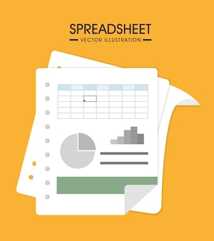 Spreadsheet design, vector illustration.