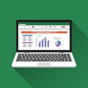 Spreadsheet on laptop screen.