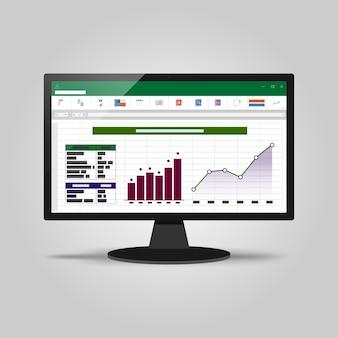コンピュータ画面上のスプレッドシート。財務会計レポートの概念。