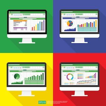 コンピュータ画面上のスプレッドシートは平らです。財務会計レポートの概念。