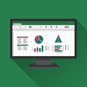 コンピュータ画面のフラットアイコンのスプレッドシート。財務会計レポートの概念。