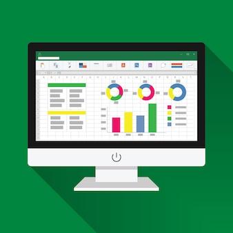 コンピューター画面のフラットアイコンのスプレッドシート。財務会計レポートのコンセプト