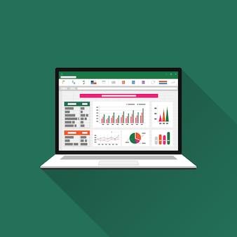노트북 화면의 스프레드 시트. 재무 회계 보고서 개념입니다. 계획 및 회계, 분석, 감사, 프로젝트 관리, 마케팅, 연구 일러스트레이션을위한 사무용 물건.