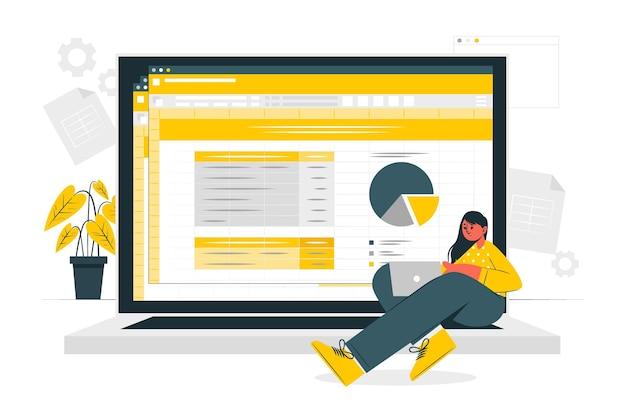 Иллюстрация концепции электронных таблиц