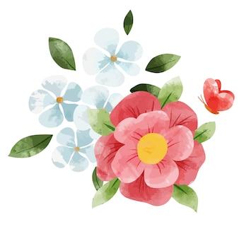 春の抽象的な花の花束。小さな花の要素。手描きの水彩イラスト。