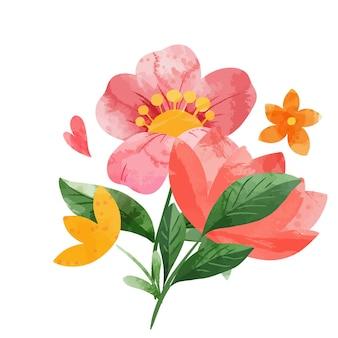봄 추상 꽃 꽃다발입니다. 작은 꽃 요소. 손으로 그린 수채화 그림.