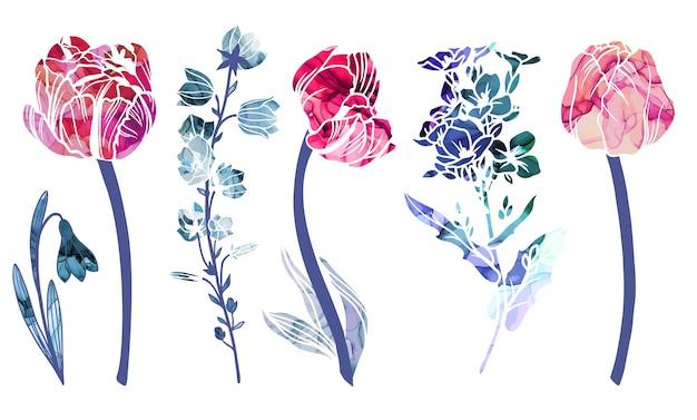 春の抽象的な花アルコールインクの質感