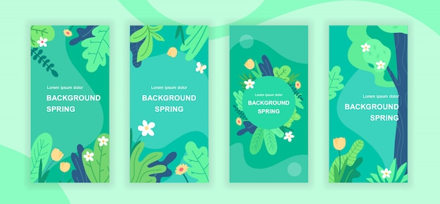 Spring abstract social media stories templates set
