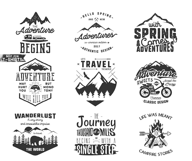 Набор наклеек типографии весеннее приключение и горный исследователь. вдохновляющие знаки отличия деятельности на открытом воздухе. стиль хипстера силуэта. лучше всего для футболок, кружек. векторные патчи, изолированные на белом фоне.