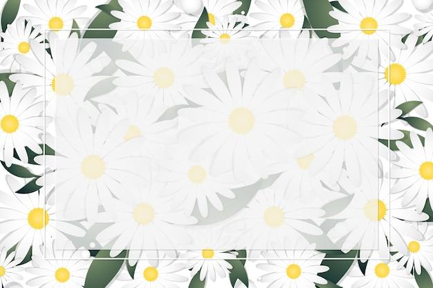 デイジーの花と白いフレームの葉の春と夏の花の背景テンプレート。