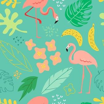 봄과 여름에는 플라밍고, 열대 식물, 잎, 패턴용 꽃, 배너, 인사말 카드, 포스터, 덮개가 있는 매끄러운 배경입니다. 벡터 일러스트 레이 션