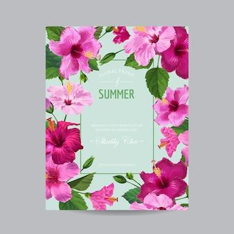 春と夏の熱帯の花のフレーム