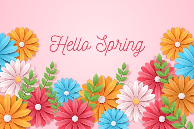 Spring background in colorful paper style with greeting