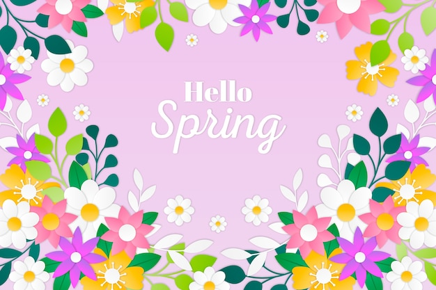 Spring background in colorful paper style