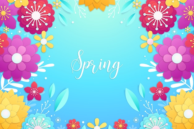 Spring background in colourful paper style with colourful frame of flowers