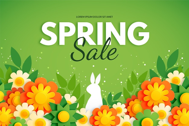 Sfondo di primavera in stile carta colorata con coniglio e fiori