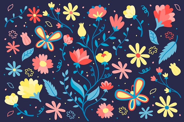 Spring background in flat design