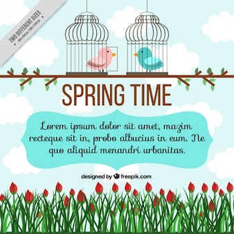 Spring background of flowers and birds in a cage