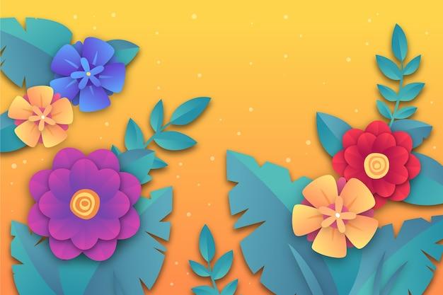 花とカラフルな紙のスタイルで春の背景