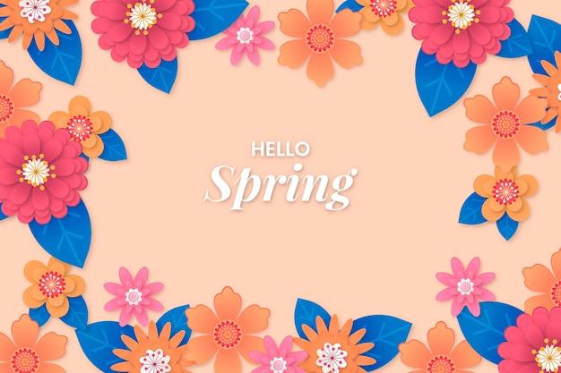 종이 스타일의 봄 배경