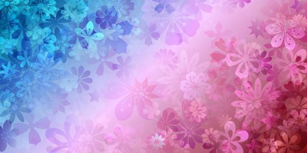 青と赤の色でさまざまな花の春の背景