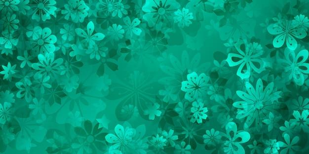 ターコイズ色のさまざまな花の春の背景