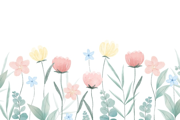 Spring background painted with watercolor