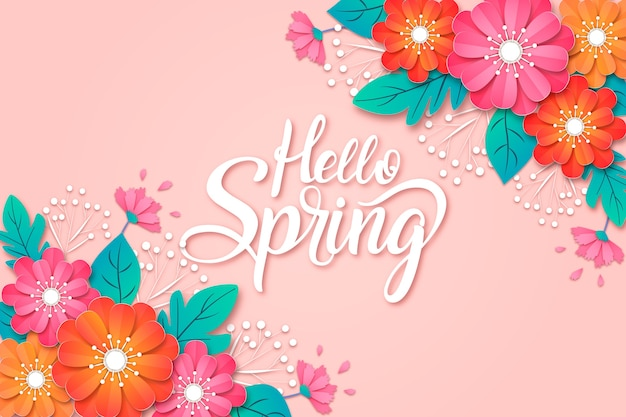 Spring background in paper style