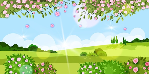 Spring background, summer  flower landscape with grass, trees, meadow, sakura blossom, green bushes, hills. rural countryside village environment season view, sun,clouds. spring rustic landscape