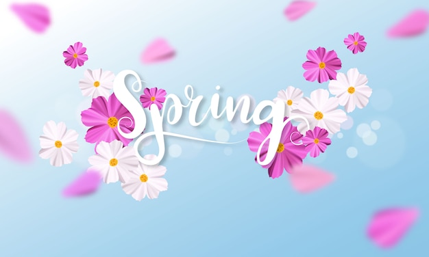 Spring background with beautiful pink and white flower