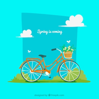 Spring background with bike and flowers
