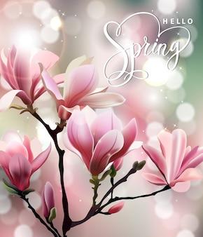 Предпосылка весны с завтрак-обедом цветения магнолии. Premium векторы