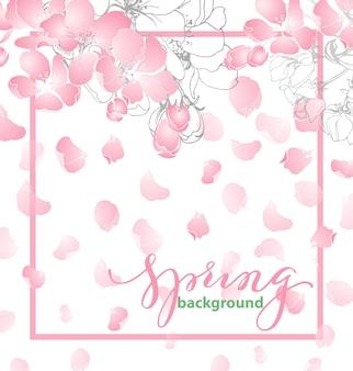 花の咲くリンゴの花と春の背景。ベクトルイラスト